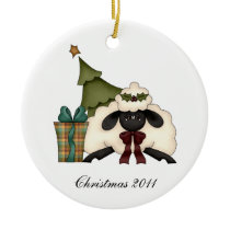 Cute Sheep Christmas Tree From Our House To Yours Ceramic Ornament