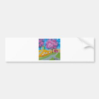 Cute sheep colorful folk art picture bumper sticker
