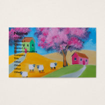Cute sheep colorful folk art picture business card