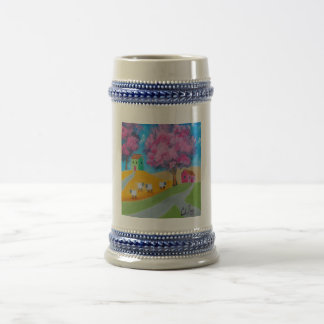 Cute sheep colorful folk art picture 18 oz beer stein