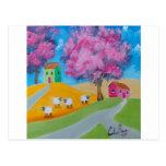 Cute sheep colorful folk art picture postcard