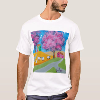 Cute sheep colorful folk art picture T-Shirt