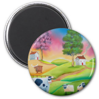 Cute sheep cows folk art naive painting G Bruce 2 Inch Round Magnet