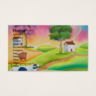 Cute sheep cows folk art naive painting G Bruce Business Card
