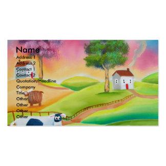 Cute sheep cows folk art naive painting G Bruce Business Card Templates