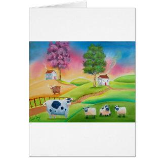 Cute sheep cows folk art naive painting G Bruce Card