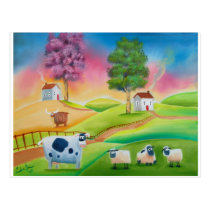 Cute sheep cows folk art naive painting G Bruce Postcard