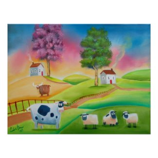 Cute sheep cows folk art naive painting G Bruce Print