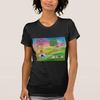 Cute sheep cows folk art naive painting G Bruce T-Shirt