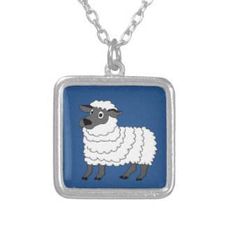 Cute sheep design matching jewelry set square pendant necklace