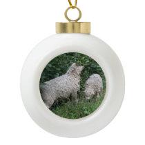 Cute Sheep Eating Leaves Ball Ornament