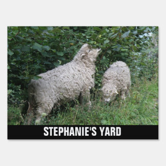 Cute Sheep Eating Leaves Personalized Yard Sign