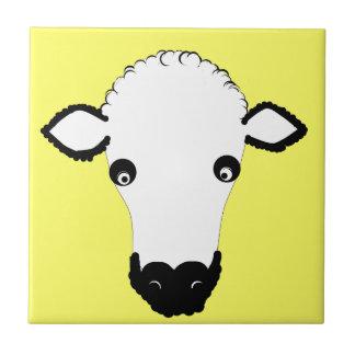 Cute Sheep Face add text Ceramic Tiles