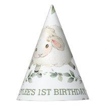 Cute Sheep Farm Greenery 1st Birthday Boy Girl   Party Hat