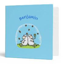 Cute sheep friends and butterflies cartoon 3 ring binder