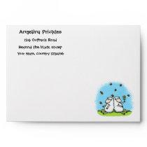 Cute sheep friends and butterflies cartoon envelope