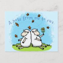 Cute sheep friends and butterflies cartoon postcard