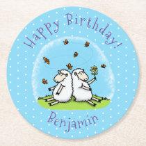 Cute sheep friends and butterflies cartoon round paper coaster