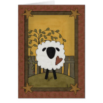 Cute Sheep Heart Love Country Scene - Blank Inside Card