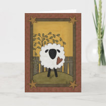 Cute Sheep Heart Love Country Scene - Blank Inside Holiday Card