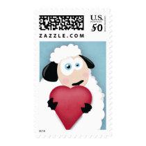 Cute Sheep Holding Love Heart Valentine - Medium Postage