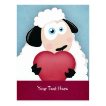 Cute Sheep Holding Love Heart Valentine Postcards