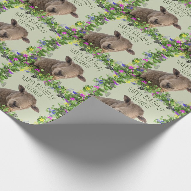 Cute Sheep in Floral Frame Personalized