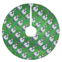 Cute Sheep in Santa Hat On Green Brushed Polyester Tree Skirt