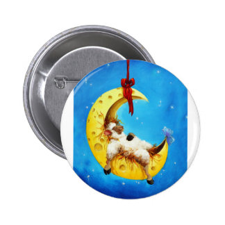 Cute Sheep in the Moon Sheep Incognito Nursery Pinback Button