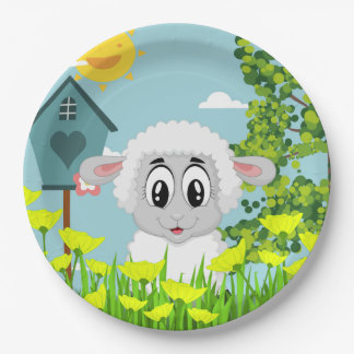 Cute Sheep in the Yard Paper Plate
