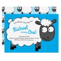 Cute Sheep Kids 1st Birthday Farm Party Invitation