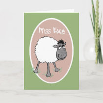 Cute Sheep, Miss Ewe, Fun Greeting Card
