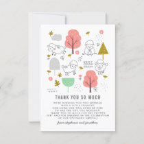 Cute Sheep Modern Baby Girl Baby Shower Thank You