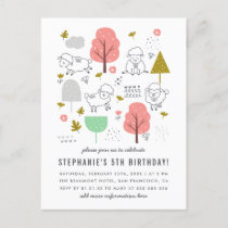 Cute Sheep Modern Little Girl's Birthday Party Invitation Postcard