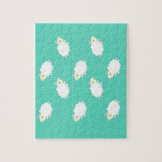 Cute sheep repeating pattern jigsaw puzzle