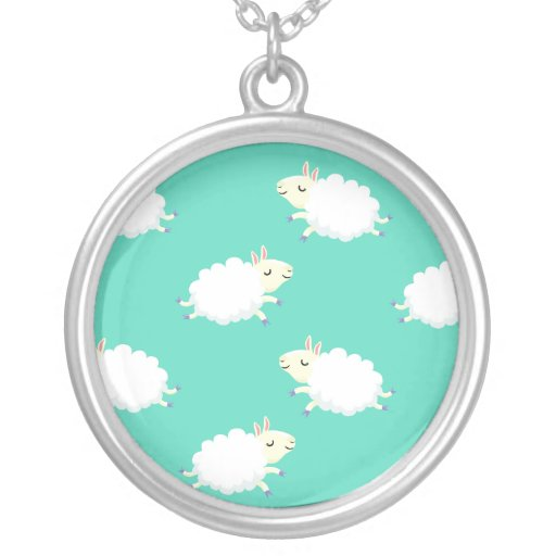 Cute sheep repeating pattern round pendant necklace
