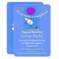 Cute sheep with balloon cartoon baby shower invitation