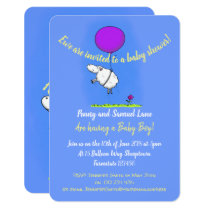 Cute sheep with balloon cartoon baby shower invitation