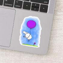 Cute sheep with purple balloon whimsical cartoon sticker