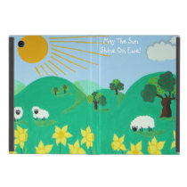 cute sheep with trees hills blue sky and  clouds case for iPad mini