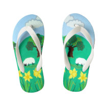 cute sheep with trees hills blue sky and  clouds kid's flip flops
