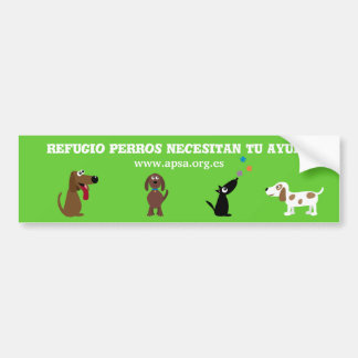 Cute Shelter Dogs Need Your Help Spanish Charity Car Bumper Sticker