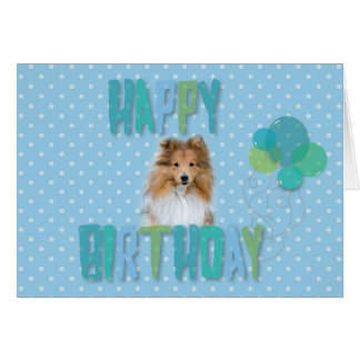 Cute Sheltie Shetland Sheepdog Happy Birthday Card