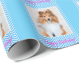 Cute Sheltie Shetland Sheepdog Happy Birthday Wrapping Paper