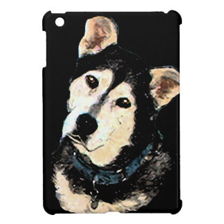 Cute Shepherd Husky Dog Portrait iPad Mini Covers