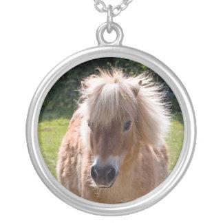 Cute shetland pony head close-up necklace gift