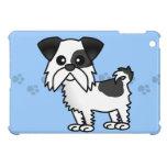 Cute Shih Tzu Black and White  - Paw Print Blue iPad Mini Cases