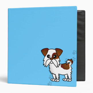 Cute Shih Tzu Brown and White  - Pawprint Blue 3 Ring Binder