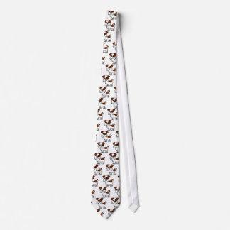Cute Shih Tzu Cartoon Brown and White Neck Tie