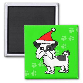 Cute Shih Tzu cartoon Santa Hat - Black and White 2 Inch Square Magnet